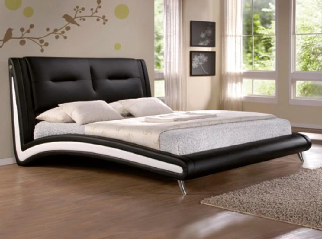 Moderní černá čalouněná postel CS4008